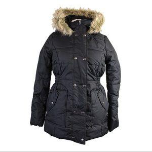 Krush Juniors Black Faux-Fur Smocked-Waist Coat